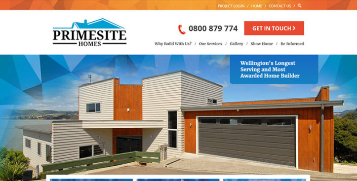 Aztera Marketing website design and SEO for Primesite Homes, Wellington