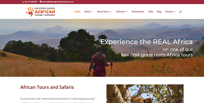 Aztera Marketing website design and SEO for Helping Hand African Tours