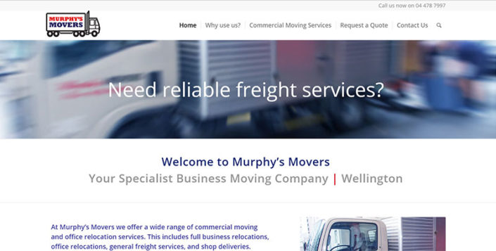 Aztera Marketing website design and SEO for Murphys Movers, Wellington