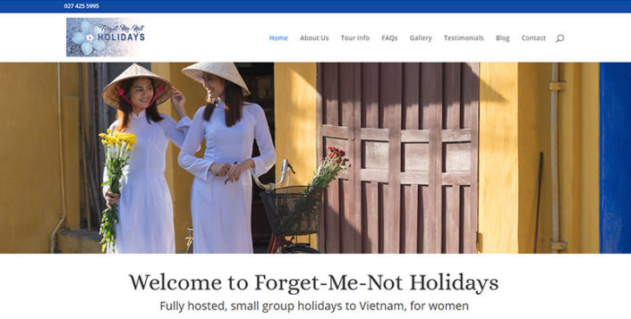 Aztera Marketing website design and SEO for Forget Me Not Holidays, Wellington