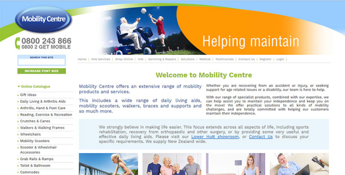 Aztera Marketing website design and SEO for Mobility Centre, Wellington