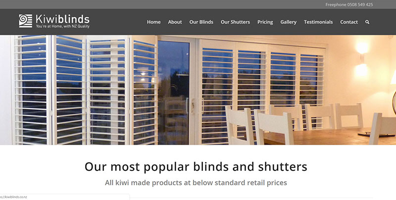 Aztera Marketing website design and SEO for Kiwiblinds, Wellington