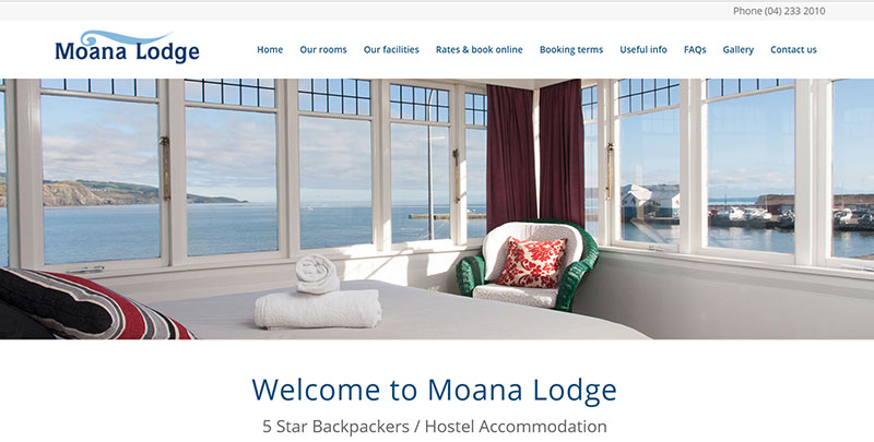 Aztera Marketing website design and SEO for Moana Lodge, Wellington
