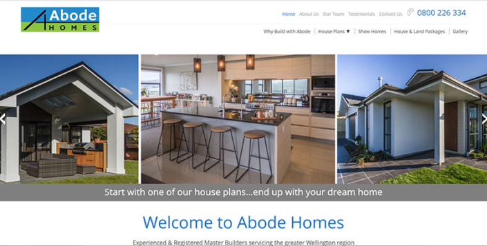 Aztera Marketing website design and SEO for Abode Homes, Wellington