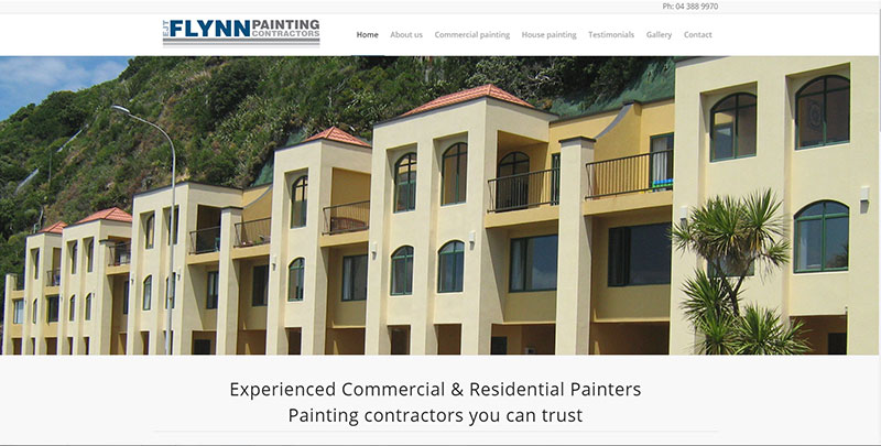Aztera Marketing website design and SEO for EJT Flynn Painters, Wellington
