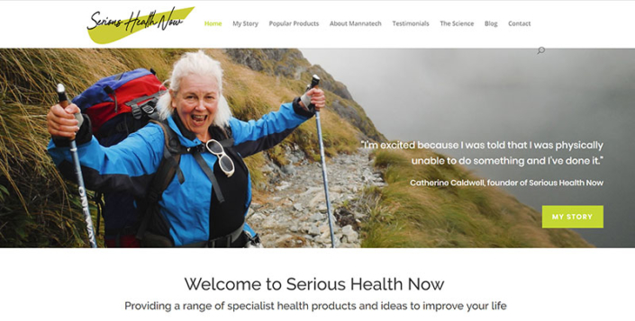 Aztera Marketing website design and SEO for Serious Health Now, Wellington