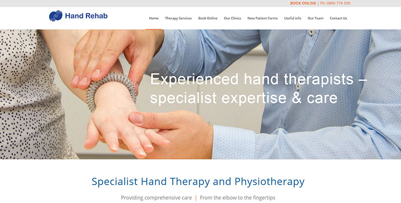 Aztera Marketing website design for Hand Rehab, Wellington